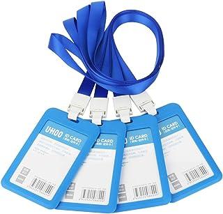 GTIWUNG Lot de 4 Porte-Badges, Porte-Carte d'identité Badge Nominatif, Portes-Clés d'identité Badge pour l'entreprise, Tra...