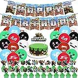 Jeu Pixel Style Fête D'anniversaire à thème Fournitures,Jeu Pixel Style Décorations de fête Bannière Balloons Cake and Cupcake Topeurs Cadeau D'anniversaire pour Joueurs Fête Faveurs