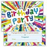Set di 12 inviti Compleanno Biglietti invito per Festa Compleanno per Bambini e Adulti in Italiano - Birthday Party