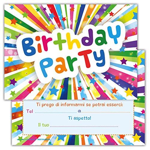Set di 12 inviti Compleanno Biglietti invito per Festa Compleanno...