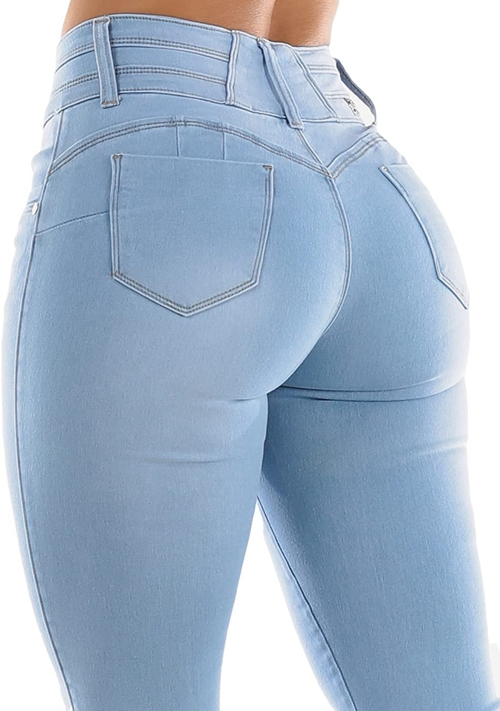 Women's Push-Up Butt Lifting Solid Mid Rise Stretchy Skinny Jeans 10982C