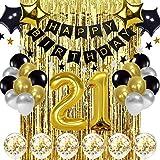 Globo de decoraciones de cumpleaños 21 negro y dorado, globos de oro número 21, globos de cumpleaños número 21, suministros de decoración de cumpleaños de 21 años