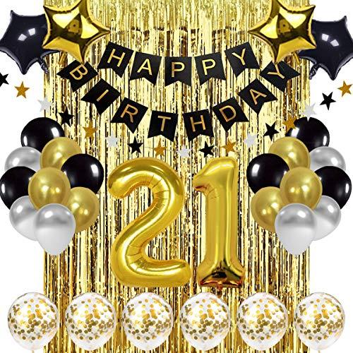 SZHUIHER Globo de Decoraciones de cumpleaños 21 Negro y Dorado, Globos de Oro número 21, Globos de cumpleaños número 21, Suministros de decoración de cumpleaños de 21 años