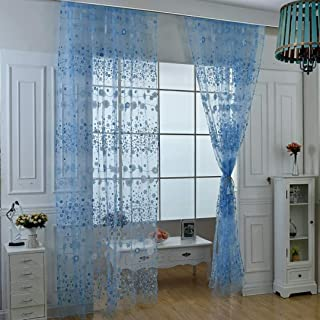 charmsamx Luxury Floral Sheer Curtains Rod Pocket oile Drapes for Living Room, Bedroom Semi Crinkle Window Treatments Sexy Tulle Curtain Panels for Yard Patio 39 Inch Long