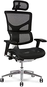 X-Chair X2 Management Chair, Black K-Sport Mesh with Wide Seat and Headrest