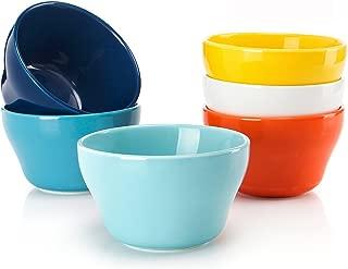 Sweese 107.002 Porcelain Bouillon Cups - 8 Ounce Dessert Bowls - Set of 6, Hot Assorted Colors