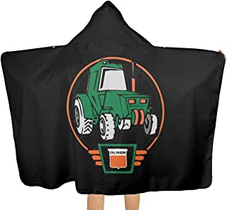VIMMUCIR Little Oliver Tractor Driver Hooded Throw Blanket, Cozy Warm Wearable Blankets Novelty Cape for Kids Adults