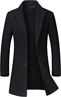 chouyatou Men's Mid-Length Single Breasted Wool Blend Top Coat