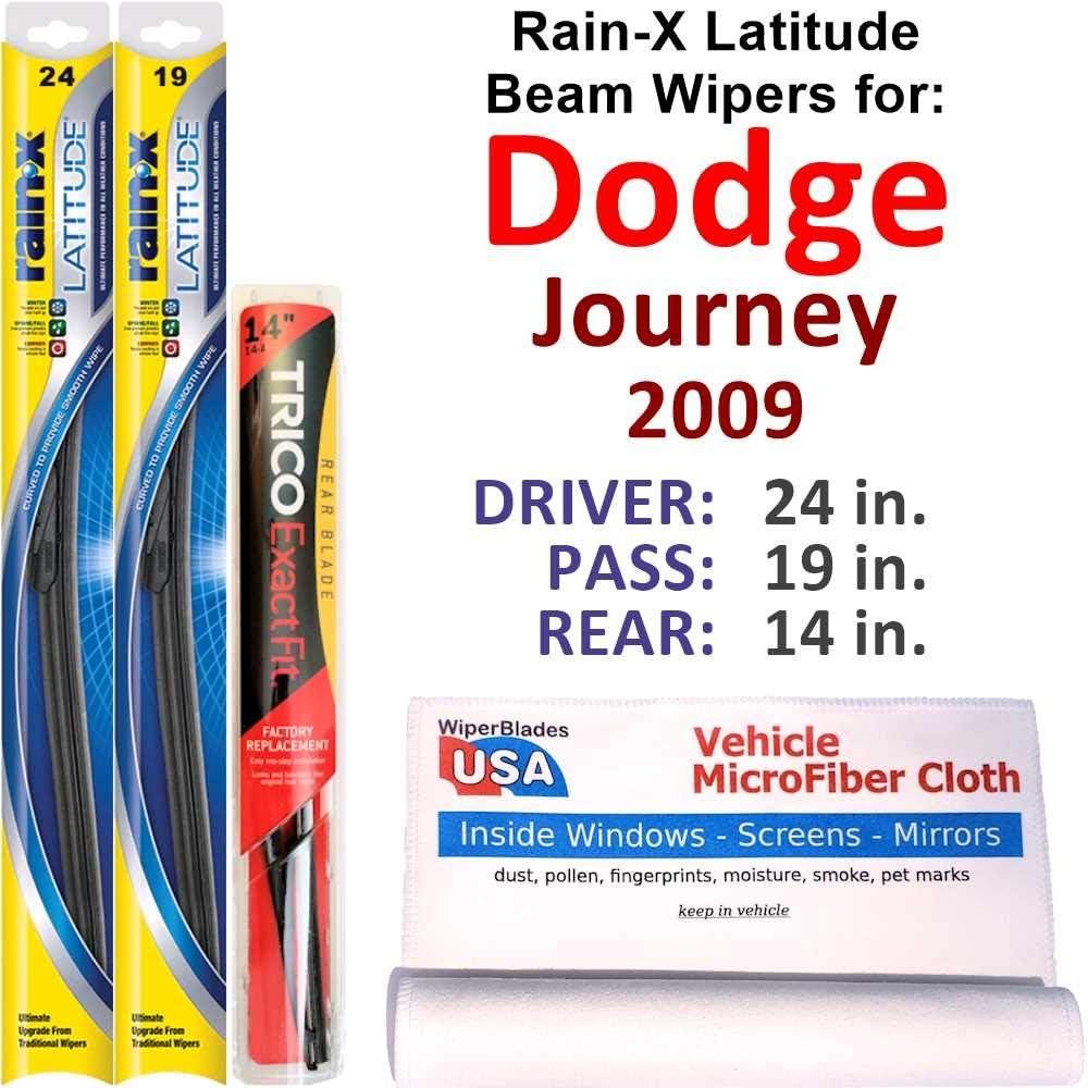 Rain-X Latitude Beam Wipers 爆買いセール for 2009 Ra 永遠の定番 Set Dodge Journey w Rear