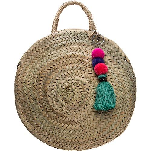 Hey May Damen Stroh Handtasche Rund mit Tragehenkel und abnehmbaren Bommel Anhänger Strandtasche Hochwertige Qualität