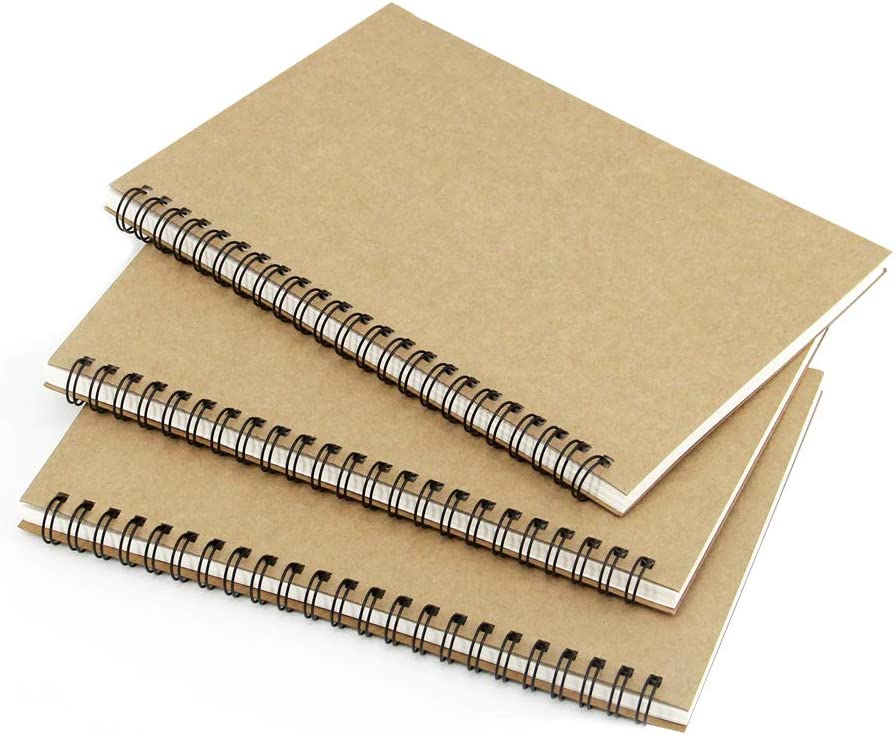 Zegrox 3 Pack Brown Max 42% OFF Cover Notebook Sketchbook Excellent Spiral Blank