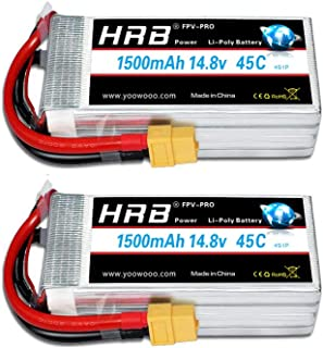 HRB 2PCS 4S 14.8V 1500mAh 45C Lipo Battery with XT60 Plug for FPV Racing RC Quadcopter Helicopter Airplane Multi-Motor Hob...