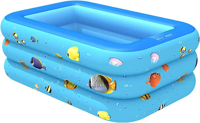 Piscina Inflable Piscina Hinchable,Plegable Portátil Piscina Inflable Piscina Rectangular Infantil Inflable, Fiesta AcuáTica De Verano Piscina Familiar Para Niños, A(Size:2XL(305X180X55CM),Color:Blue)