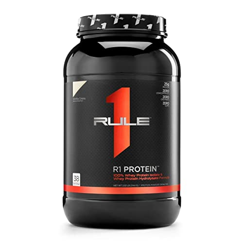 R1 Protein Whey Isolate/Hydrolysate, Rule 1 Proteins (38 Servings, Vanilla Creme