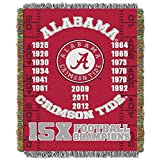 The Northwest Company Officially Licensed NCAA Alabama Crimson Tide Commemorative Woven Tapestry Throw Blanket, 48' x 60', Multi Color