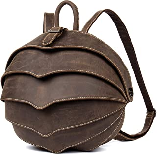 Punk Bag - Beetle Series Handmade Leather Backpack/Leather Shoulder Bag Unisex/Dark Brown 29 * 25 * 15CM Cool