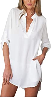 ZANZEA Women Casual V Neck Long Sleeve Chiffon Tunic Blouse Top Beach Cover Up Shirt White US12