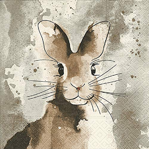 Home Collection servetten (set van 3/60 stuks) 3-laags 33x33cm Pasen Watercolour Bunny haas