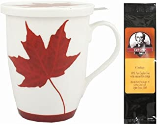 Memories of Canada Tea Mug, Infuser with Lid in Matching Gift Box Bundle with 1 Gift Package of 6 Tea Bags