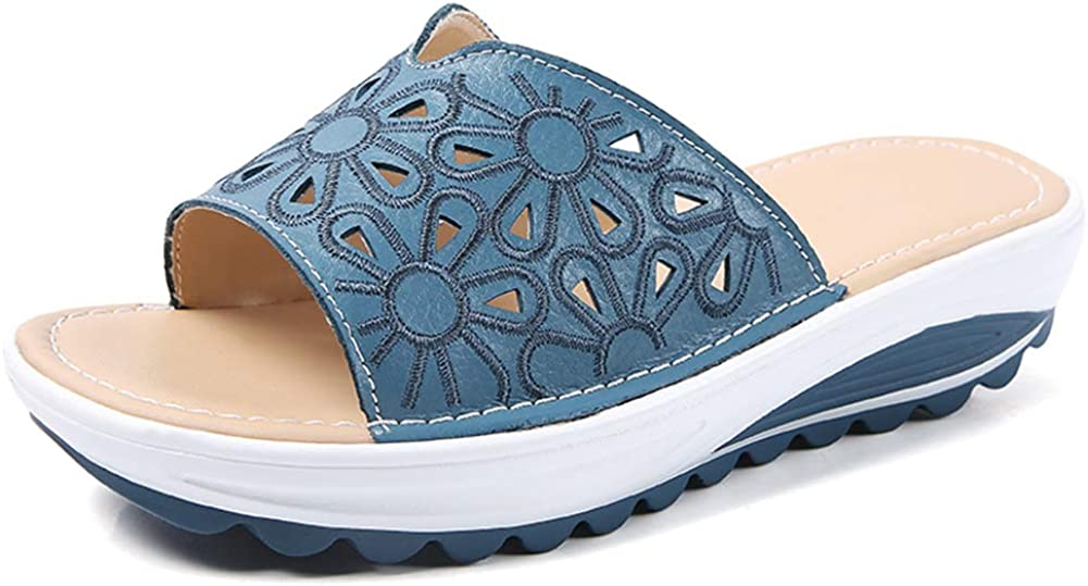 Women's Leather Slide Sandals Backless Wedge Low Heel