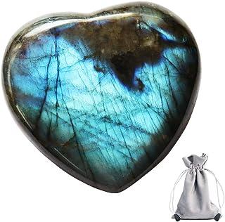 CASMON Natural Labradorite Crystal Quartz Stone with a Drawstring Bag, Polished Irregular Pocket Palm Gemstone for Collect...