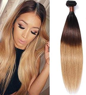 BLACKMOON HAIR(TM) Brazilian Virgin Ombre Hair Silky Straight Hair Weave 3 Bundles Unprocessed Virgin Human Hair Extensions T1B/4/27 Mixed Length (26)