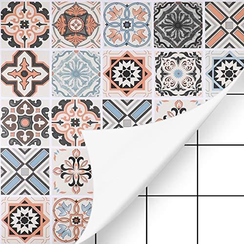 KINLO Fliesenaufkleber 61 x 500cm 2 Rollen Mosaikfliesen Tapeten selbstklebende für Bad und Küche Fliesensticker für Wandfliesen Typ-B