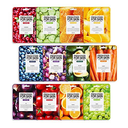 Farmskin Freshfood Gesichtspflegeset Tuchmaske 12er Set, Sparpack, für alle Hauttypen