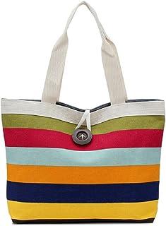 YEBIRAL Damen Shopper Bunt Handtasche Canvas Schultertasche Einkaufstasche Strand Tasche 40 x 30 x 10 cm