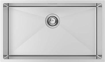 Lonheo XL Spülbecken 74  44cm eckige Edelstahlspüle, Einbauspüle für ab 80er Unterschrank, Küchenspüle mit Über- und Ablaufgarnitur, Flächenbündig/Unterbau Spüle