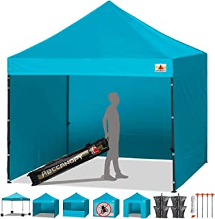 ABCCANOPY Canopy Tent Popup Canopy 10x10 Pop Up Canopies Commercial Tents Market stall with 6 Removable Sidewalls and Roller Bag Bonus 4 Weight Bags and 10ft Screen Netting and Half Wall,Viridis