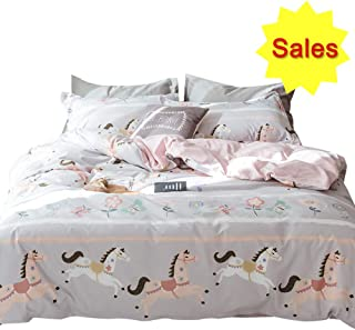 OTOB Pink Girls Duvet Cover Twin Bedding Sets Cotton Cartoon Butterfly Horse Flowers for Kids Toddler Teen White Grey Gingham Plaid Twin Duvet Cover Set Reversible Comfortable Colorful