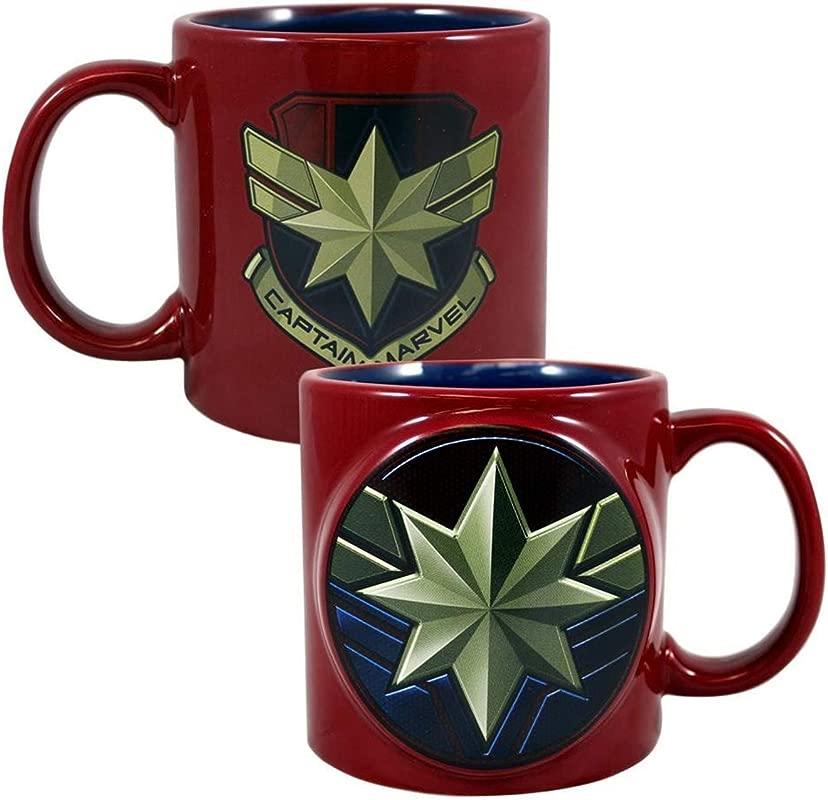 Marvel Captain Marvel Badge 20 Oz Bas Relief Ceramic Mug