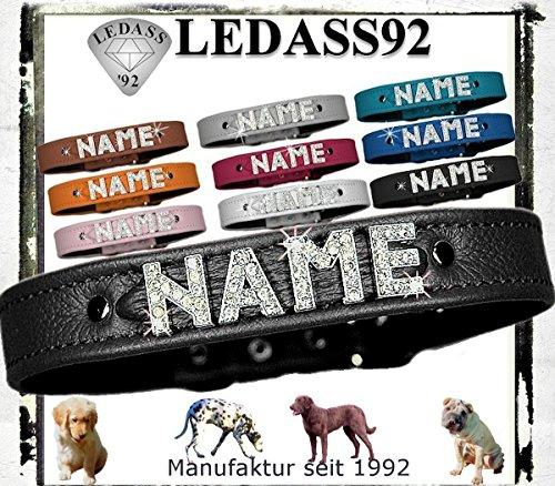 LEDASS92 Hundehalsband mit Namen Strass Halsband Name Strassbuchstaben Strasssteine (S - 23cm - 30cm Halsumfang verstellbar, schwarz)