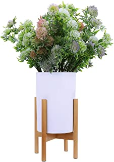 Homes Garden Plant Stand Mid Century Modern Wood Indoor Outdoor Rack Up to 10 Inch Flower Pot Holder Home Decor Mothers Day Gift (Ceramic Pot & Plant Not Included) #K318A00