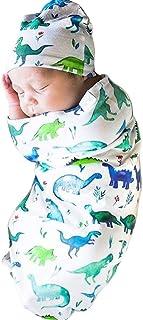 Newborn Baby Swaddle Sack with Hat or Headband Set Soft Sleeping Bag Sack Wrap (One Size, Dinosaur)