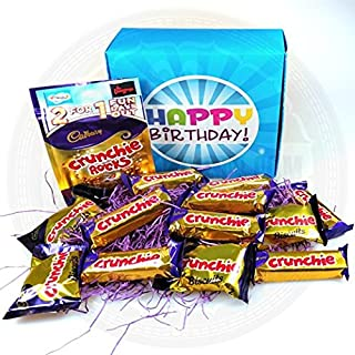 The Ultimate Cadbury Crunchie Chocolate Lovers Happy Birthday Gift Box - By Moreton Gifts - Crunchie Bars, Rocks Pouch, Biscuits