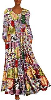 ملابس النساء فساتين الخريف عارضة فضفاضة طويلة الأكمام فساتين الأزهار بوهو نمط القطن الكتان طويل ماكسي اللباس