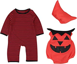 Le SSara Baby Winter Kürbis Strampler Neugeborenen Bodysuit Halloweenkostüm Outfits 3pcs