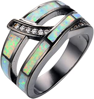 Rainbow Blue Opal Engagement Band White CZ Black Gold Filled Wedding Ring