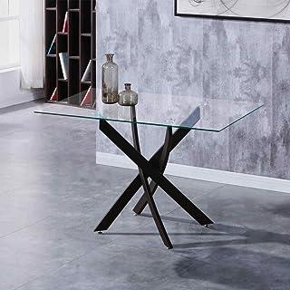 GOLDFAN Table de Salle à Manger en Verre Moderne Table à Manger Cuisine Rectangulaire Table avec Noir Pieds pour Salon Bur...
