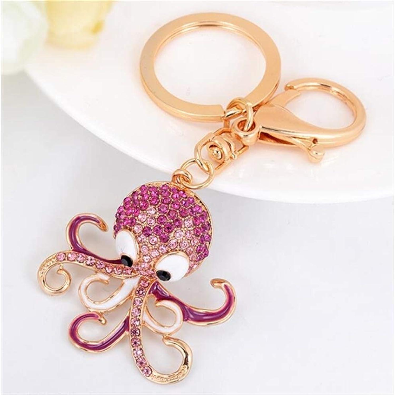 MEIDI Home Handtasche Anhänger Auto Schlüsselanhänger für Frauen Dame Mädchen Dekoration (Rosa) Animal Series Legierung Octopus Diamond Keychain B07MN9WFX4