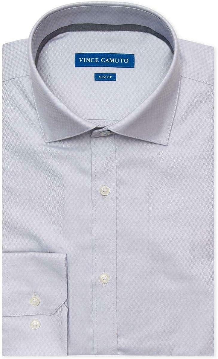 Vince Camuto Mens Comfort Stretch Button Up Dress Shirt lightgreydobby 16