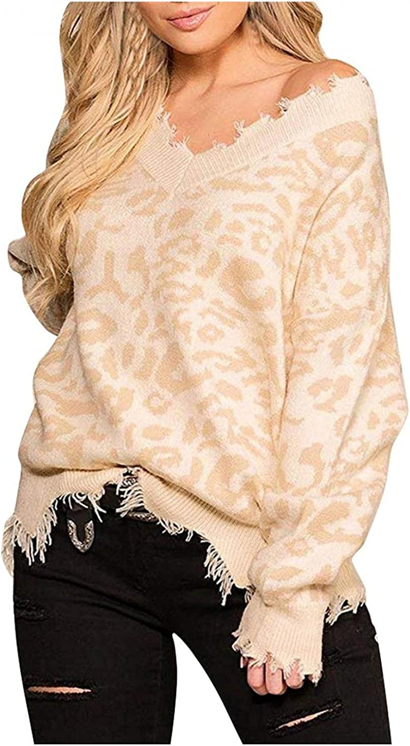 FGDJEE Pullover Sweaters for Women Sexy Casual Leopard Print Ripped V Neck Distressed Knit Pullover Jumper Tops