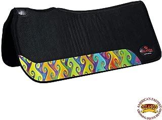 HILASON Made in USA 100% Wool Felt Western Saddle Pad Rainbow Design
