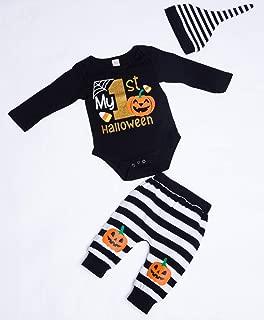 My First Halloween Bodysuit Baby Girl Boy Clothes Newborn Baby Pumpkin Romper+Hat+Striped Pumpkin Pant Outfit Set