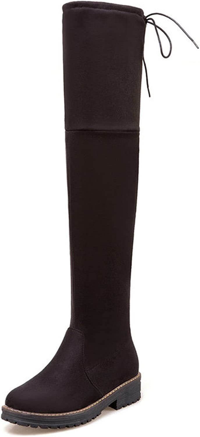 Dormery Women Over The Knee High Boots Fashion Square Heel Round Toe Flock Solid Westrn Style Women Boots Size 33-43