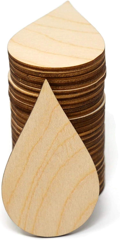 Gocutouts Wooden Rain Drop Cutouts Unfinished Wooden Rain Drop Shaped Crafts D0178 (3