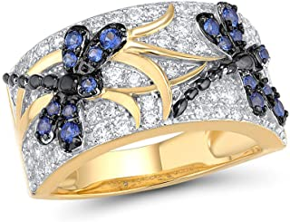 Santuzza Blue Dragonfly Ring 925 Sterling Silver Spinel Band Rings 14K Yellow Gold Plating Elegant Trendy Gift Party Fine ...