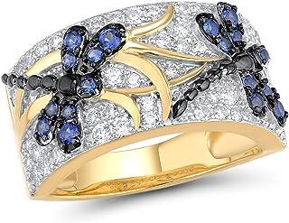 خاتم اليعسوب أزرق من الفضة الإسترلينية 925 خاتم من الفضة الإسبنيل 14 ك مطلي بالذهب الأصفر هدية أنيقة للحفلات مجوهرات جميلة...